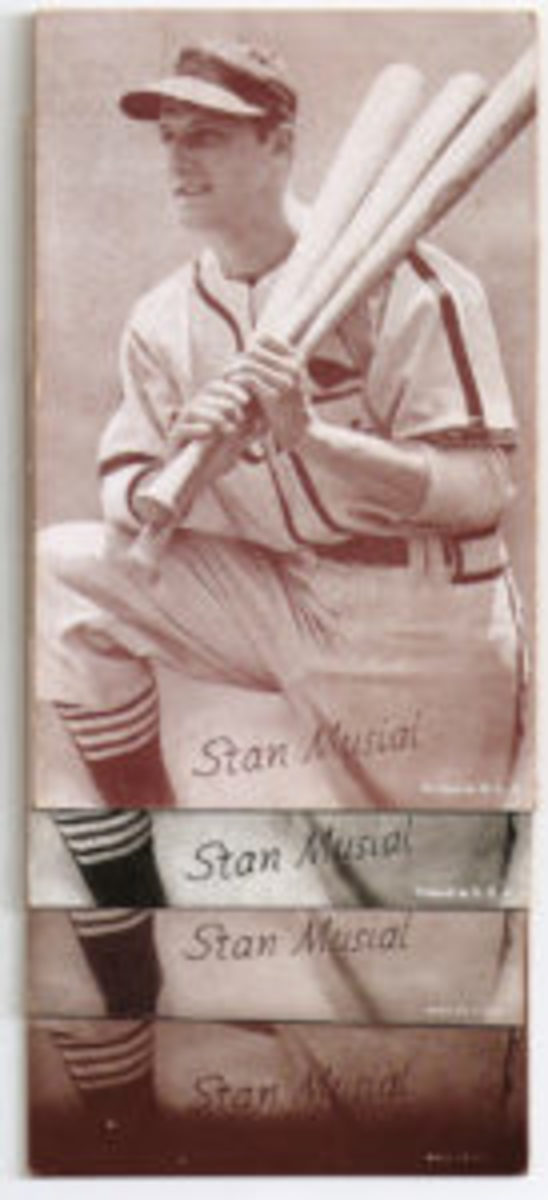 Stan Musial's cards have printing and notation differences and were the only baseball cards you could easily find of him between 1954 and 1957.