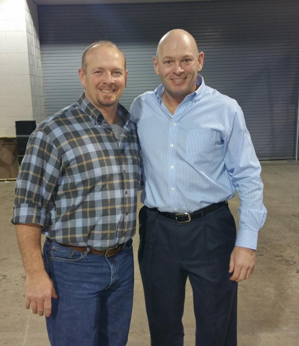 Billy Wagner, left, with the author during the February Tristar show in Houston.