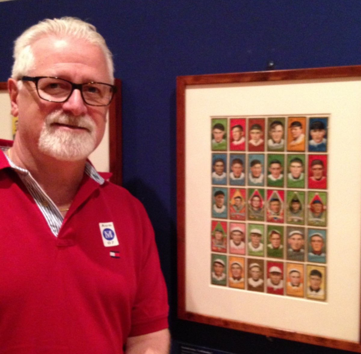 Collector John Maiorino and some of Burdick's T205s on display at the Met. Photo courtesy of J. Maiorino.