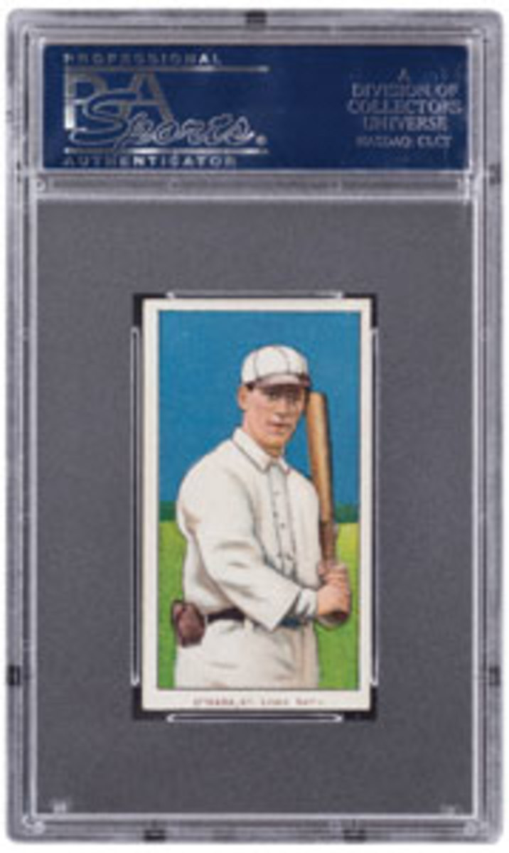 """Bill O'Hara made just 124 Major League appearances during his career. While there remains a fairly substantial population of T206 cards commemorating his 1909 service to the New York Giants, the census relating to his brief Cardinals tenure is smaller by more than half. Adding to its scarcity is the fact this card is only available with the """"Polar Bear"""" brand reverse. GradedPSA NM 7.Estimate: $80,000 and up."""