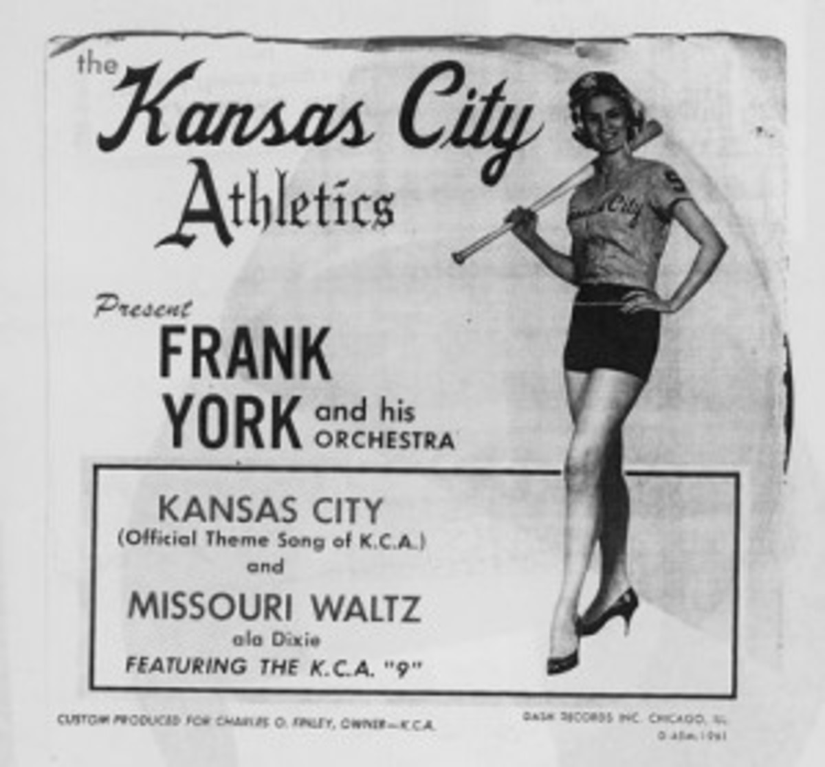 "Record sleeve and 45 rpm record of the Kansas City A's theme song, ""Kansas City."" The other side featured the ""Missouri Waltz."""