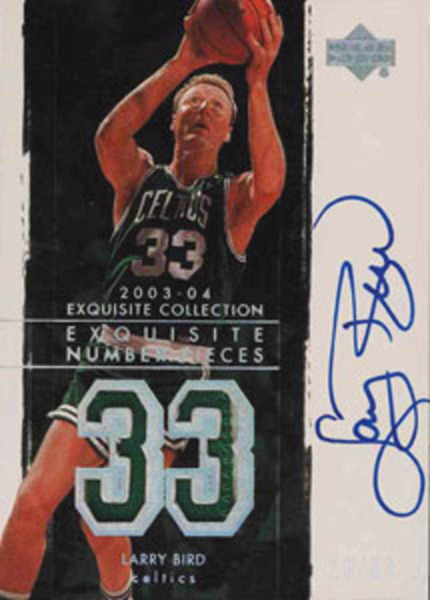 Larry Bird's ungraded 2003-2004 Upper Deck Exquisite Collection card.