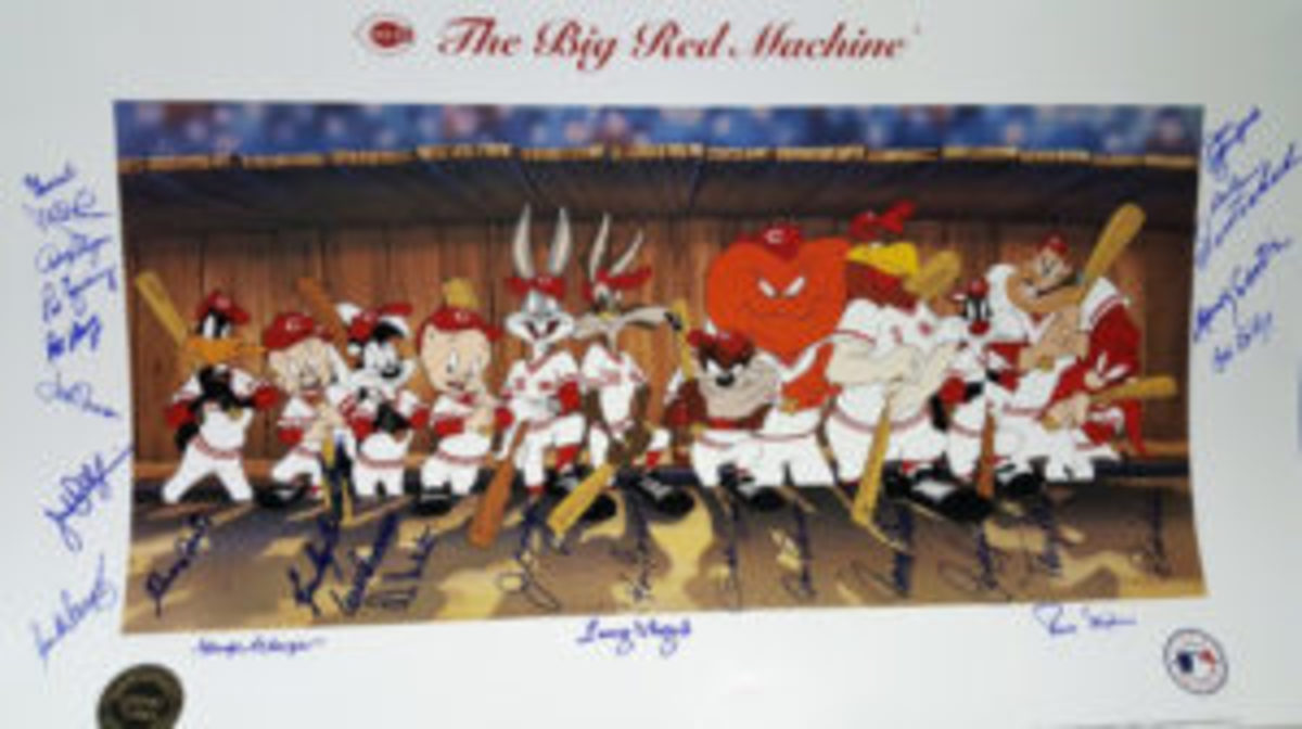 """A lithograph titled """"The Big Red Machine"""" is part of The Super Auction featuring the archives of former Detroit Tigers Public Relations Director Dan Ewald."""
