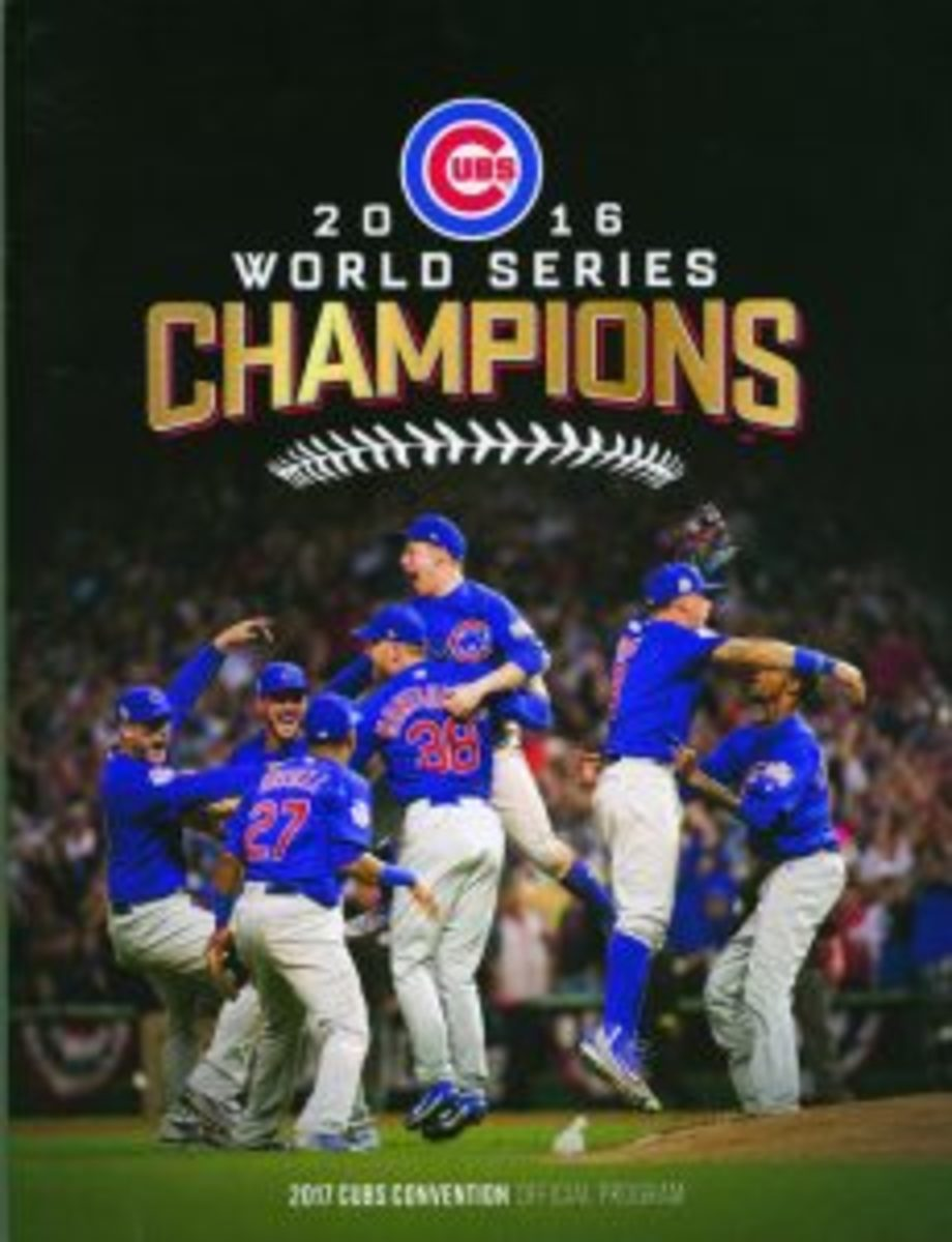 The cover of the 2017 Cubs Convention Official Program featured Chicago Cubs players celebrating after the final out of the 2016 World Series.