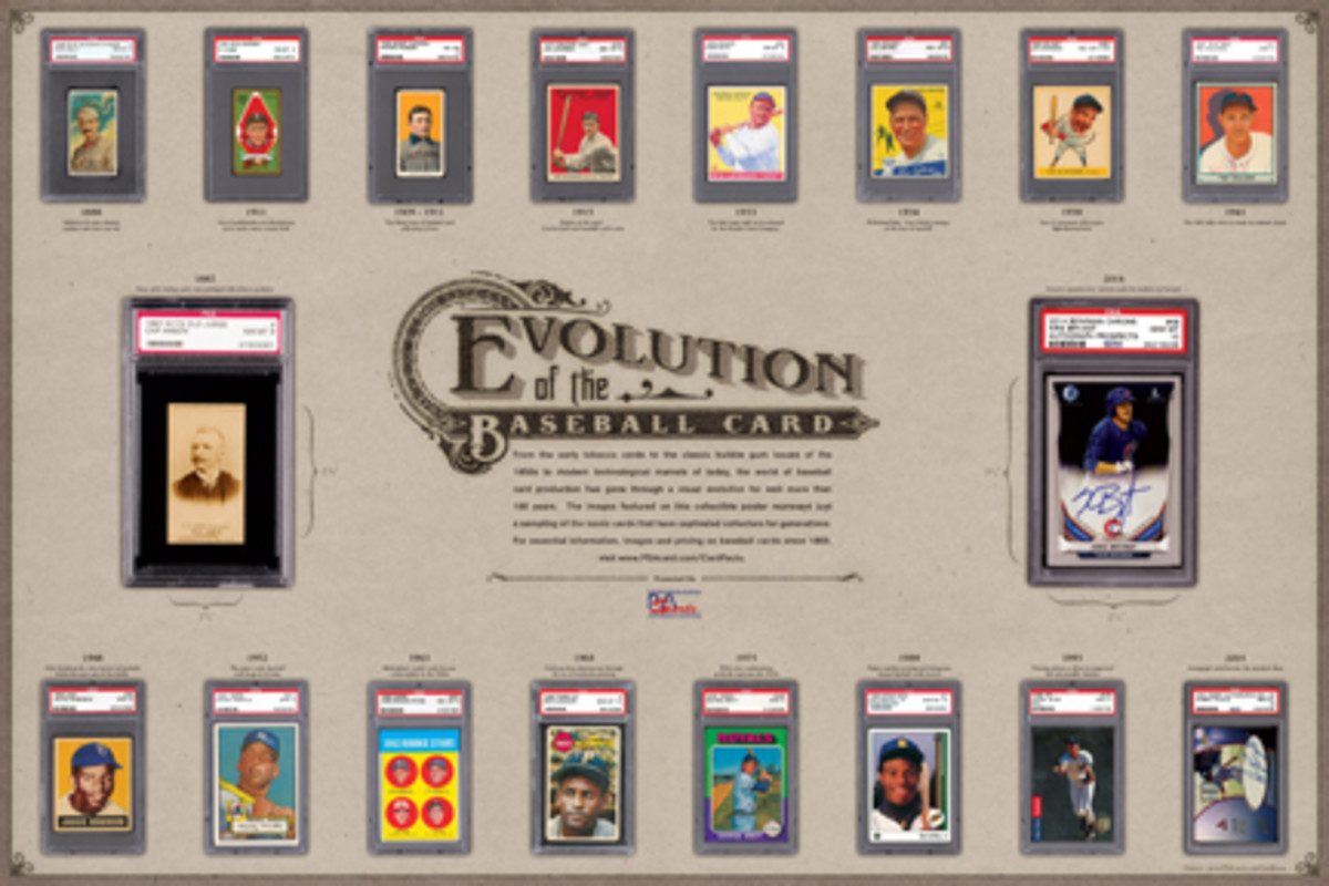 """Among the giveaways at The National will be an """"Evolution of the Baseball Card"""" poster and a Walter Payton autographed poster, (below) both courtesy of PSA."""