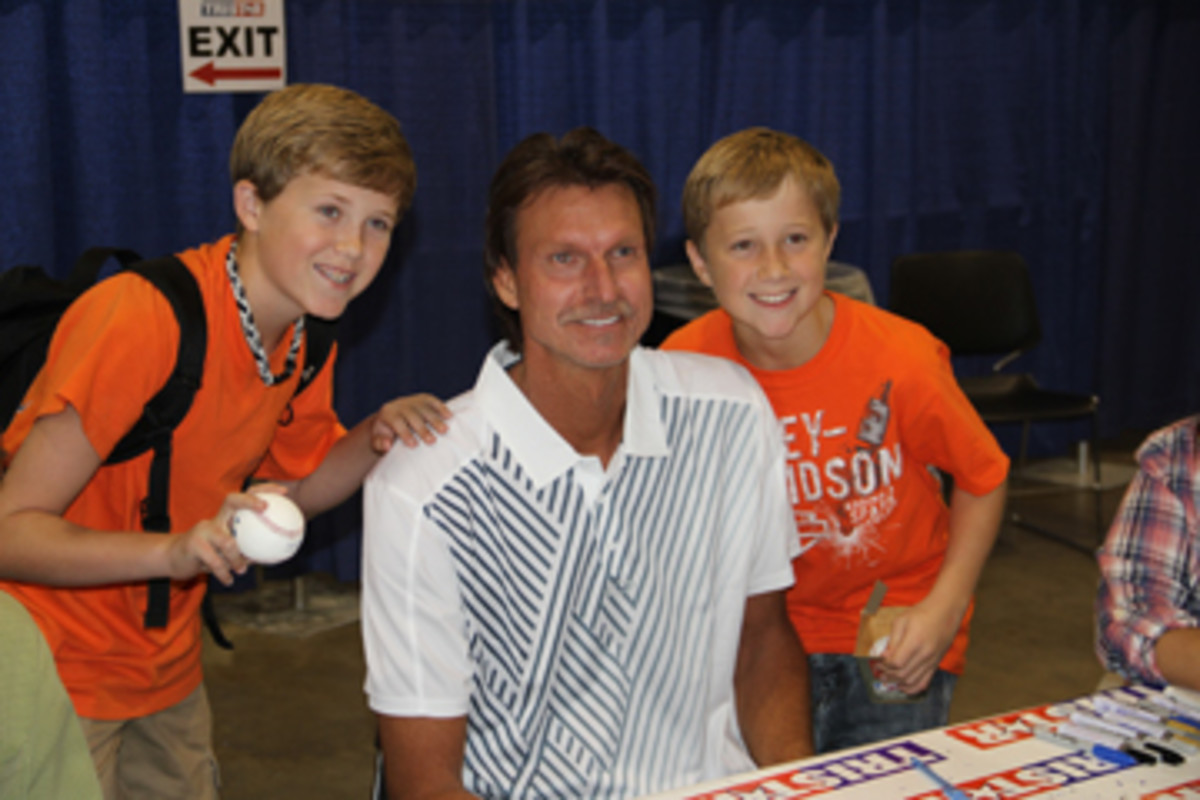 Big Unit Randy Johnson was signing baseballs for $180 during the Saturday portion of the show.