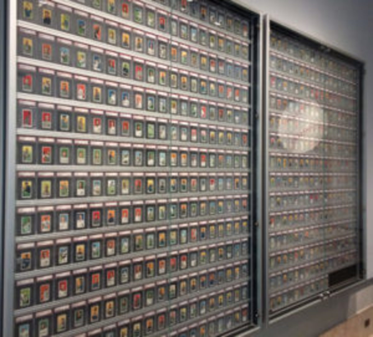 The T206 baseball card display at the Detroit Institute of Arts.