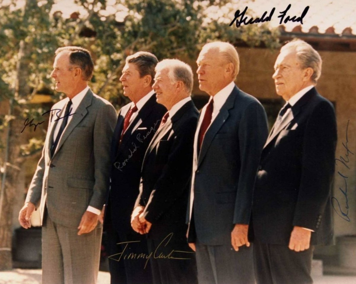 From left, George H.W. Bush, Ronald Reagan, Jimmy Carter, Gerald Ford and Richard Nixon. Although their signatures appear different, they're really all the same: Fake.