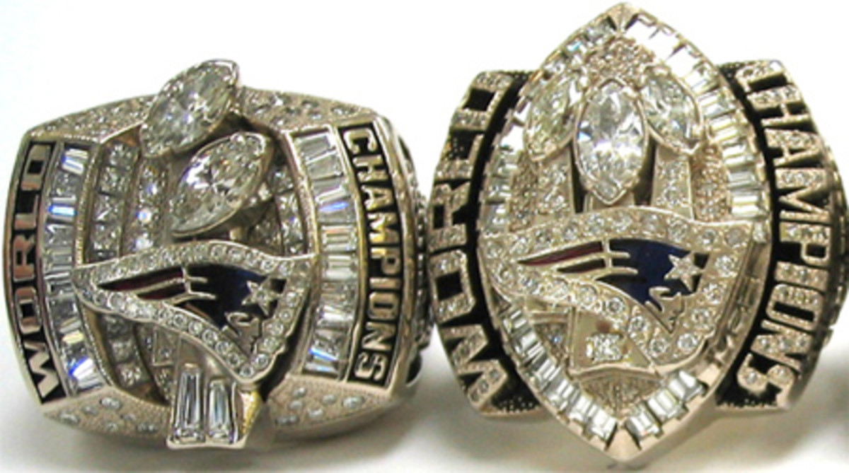 "Super Bowl XXXVIII and XXIX rings of the Patriots, who first introduced the ""big"" rings."
