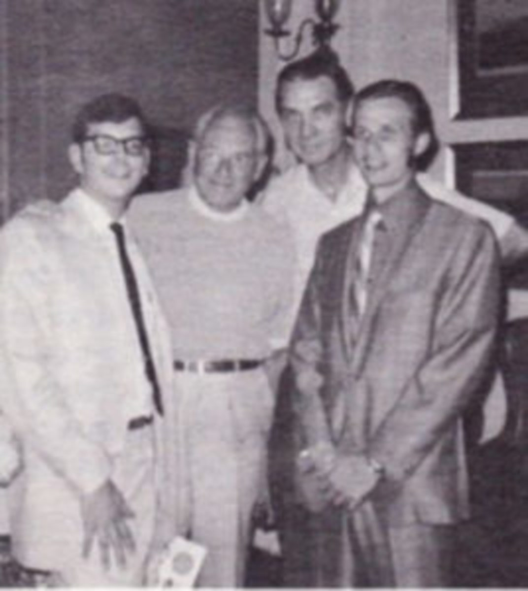 Pat Quinn (right) was the sharp-dressed man chasing the autographs in this 1970 Sport Fan photo with Jeff Morey, Waite Hoyt and Bob Jaspersen at Cooperstown.