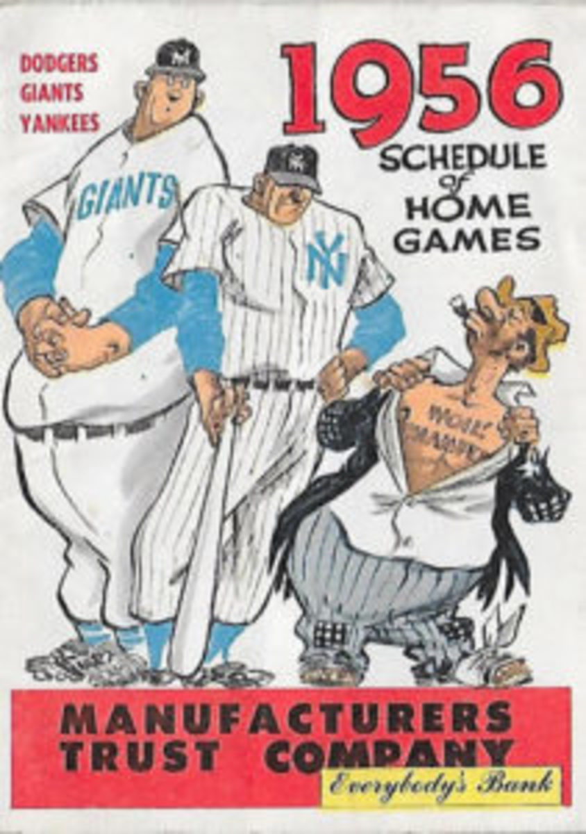 A 1956 schedule for the Brooklyn Dodgers, New York Giants, and New York Yankees.