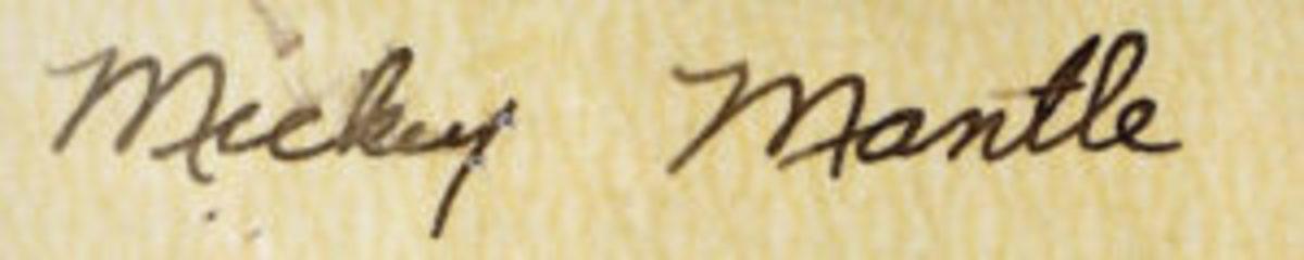 A rare early Mickey Mantle signature circa 1950. (Images courtesy Ron Keurajian)
