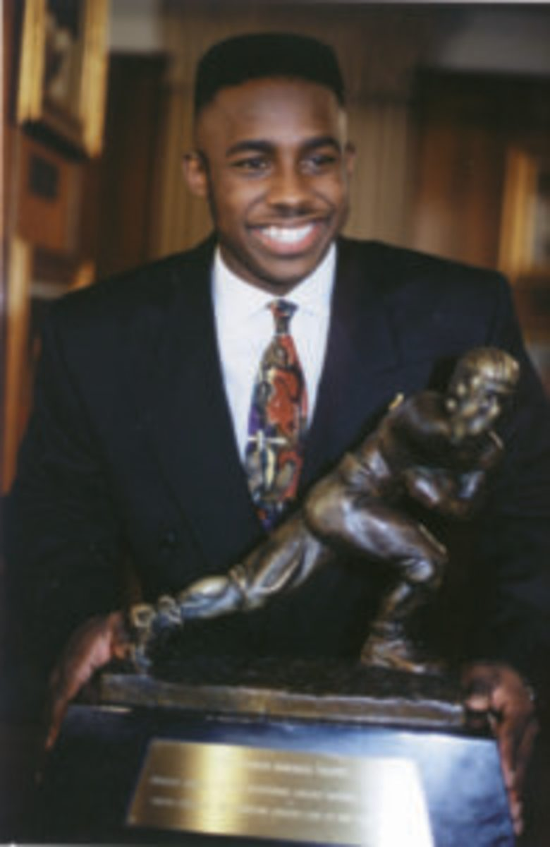 Desmond Howard after winning the Heisman Trophy in 1991. (Photo courtesy U-M Photography)