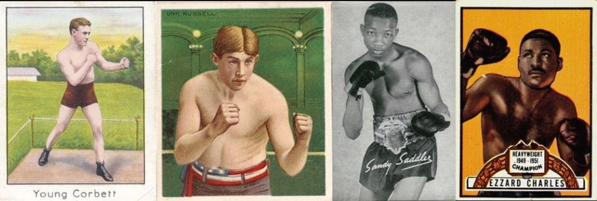 Boxing cards were more plentiful in the early 1900s compared to later in the century – T210, T218, Exhibit Supply Co. and 1951 Topps Ringside.
