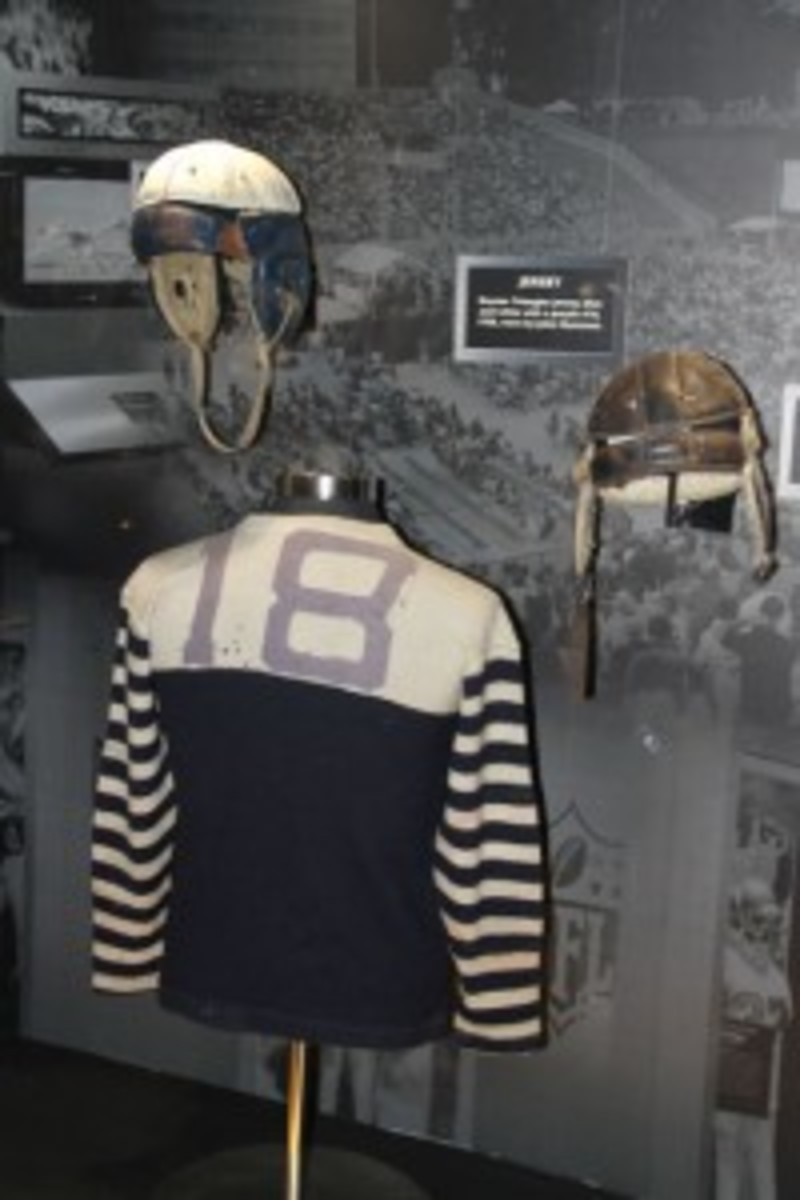Visitors can also get a lesson in the progression of football uniforms and equipment.