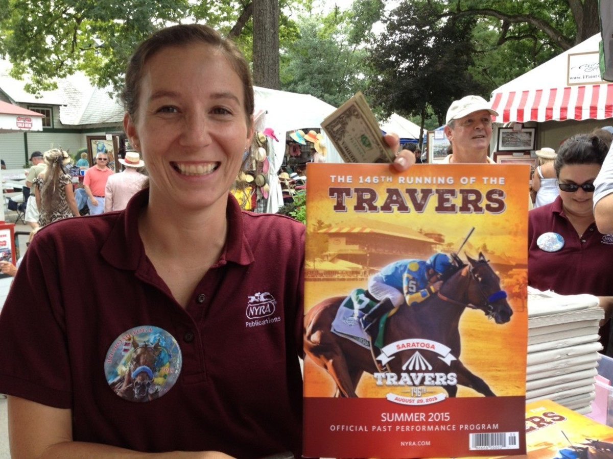 Saratoga Race Course employee Kelly McKinley went through 2,000 programs at her booth alone for the Travers Stakes featuring American Pharoah, which is the most she can remember in 17 years.