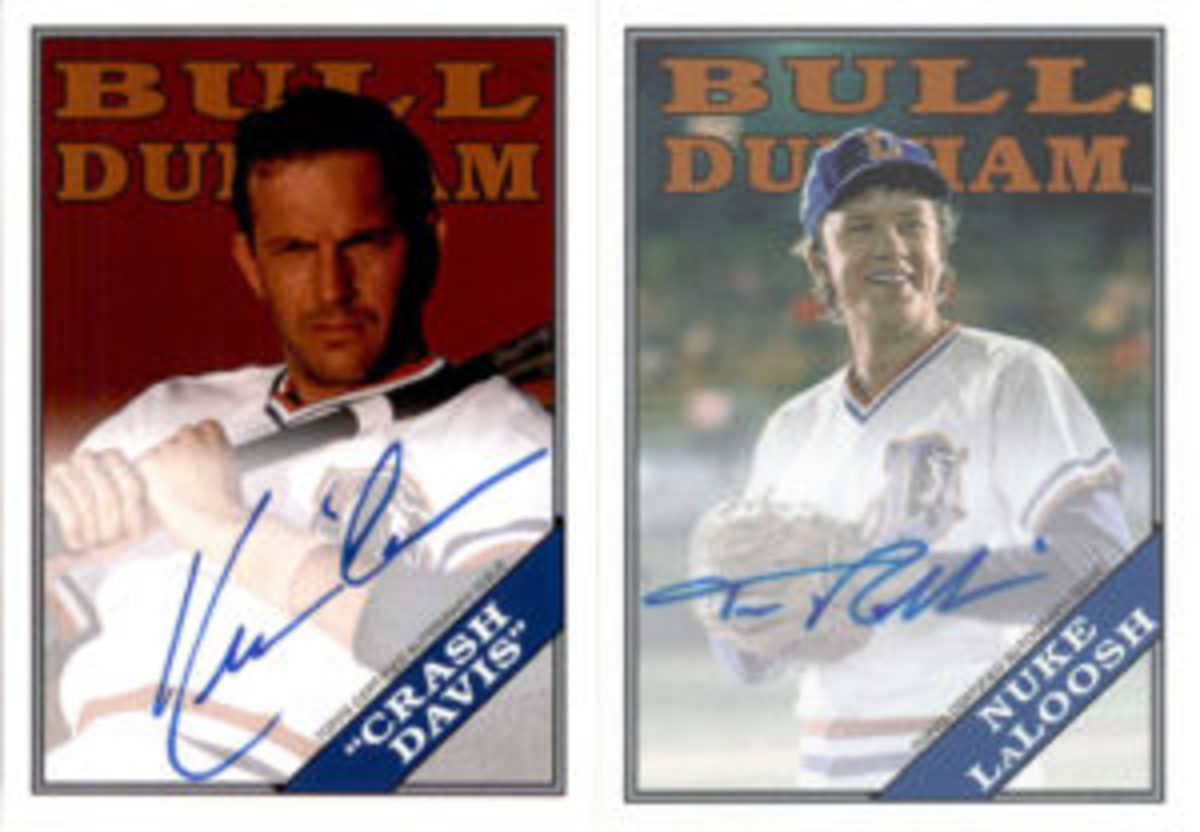 "Kevin Costner, who played ""Crash Davis"" and Tim Robbins, who played ""Nuke LaLoosh"" in the movie ""Bull Durham,"" have autograph cards included in the 2016 Topps Archives Baseball card release."
