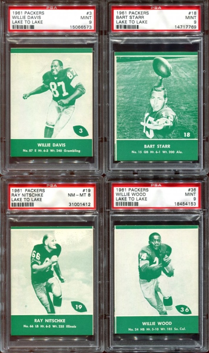 How's this for a quartet of football royalty? The Davis, Starr, Nitschke and Wood cards are all considered short prints. Photo courtesy Michael Thomas.