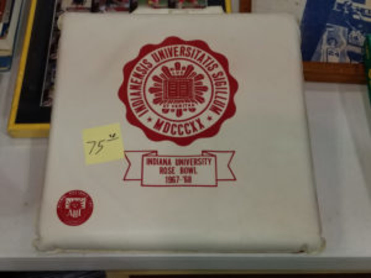 An Indiana University seat cushion from the 1967 Rose Bowl, which the Hoosiers lost 14-3 to USC, was $75. (Ross Forman photo)
