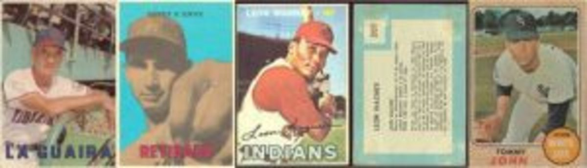 The mysterious 1967 set had three distinct series: Venezuelan League players, which included Luis Aparicio as a coach, Retirado (retired) players like Sandy Koufax, and regular 1967 Topps poses like Leon Wagner's. The backs were in Spanish and not in the Topps format. Tommy John's 1968 card has the typically muted colors.