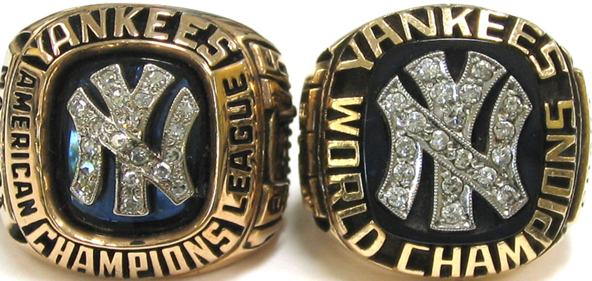 "Pictured: 1976 American League Champion and 1977 World Series Champions rings. This was the beginning of the championship ring ""bling"" evolution."