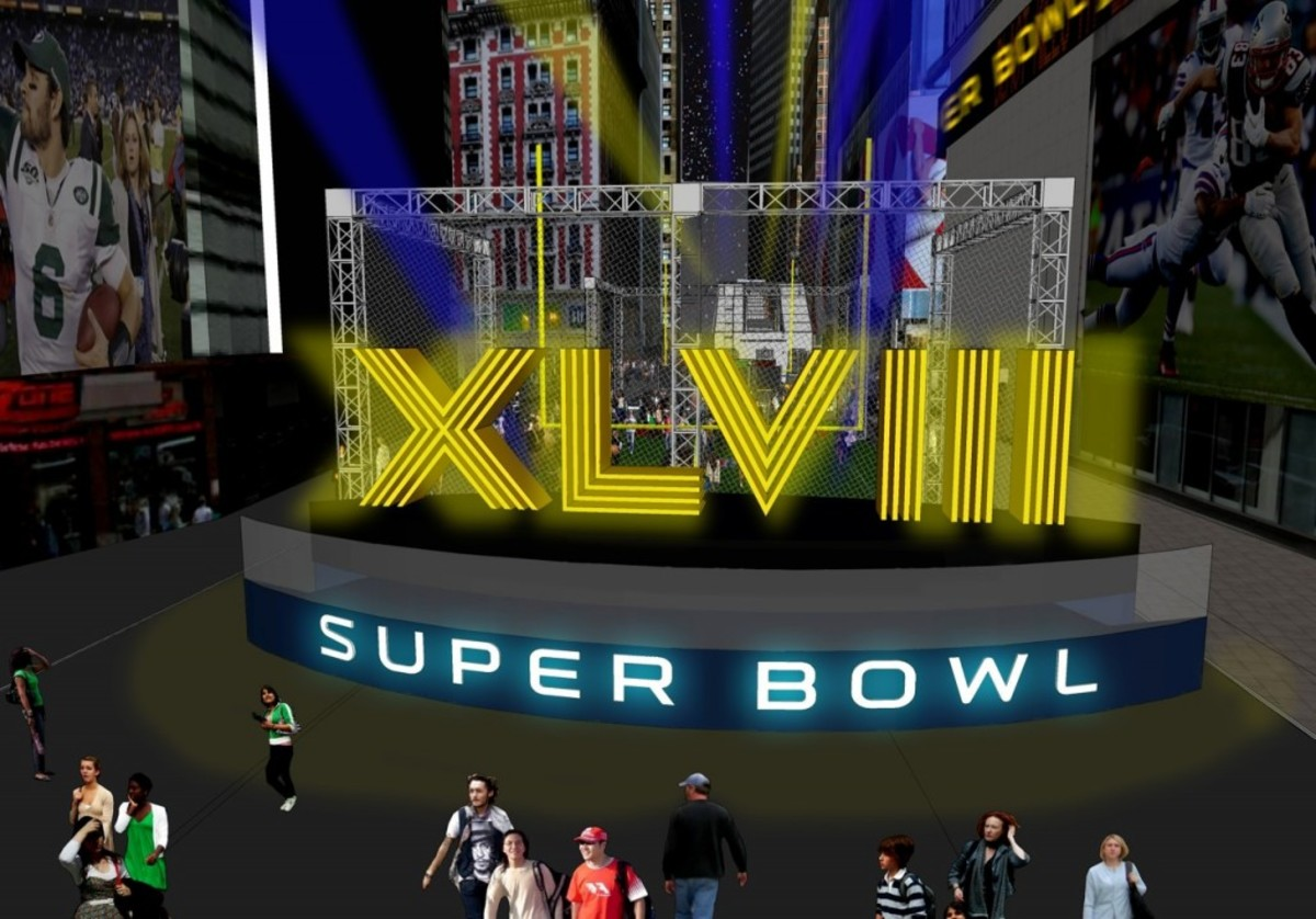 An artist's rendering of the 36-foot-high XLVIII Super Bowl Roman numerals on Super Bowl Boulevard for the 48th edition of the annual game. Artist renderings provided by the NFL.