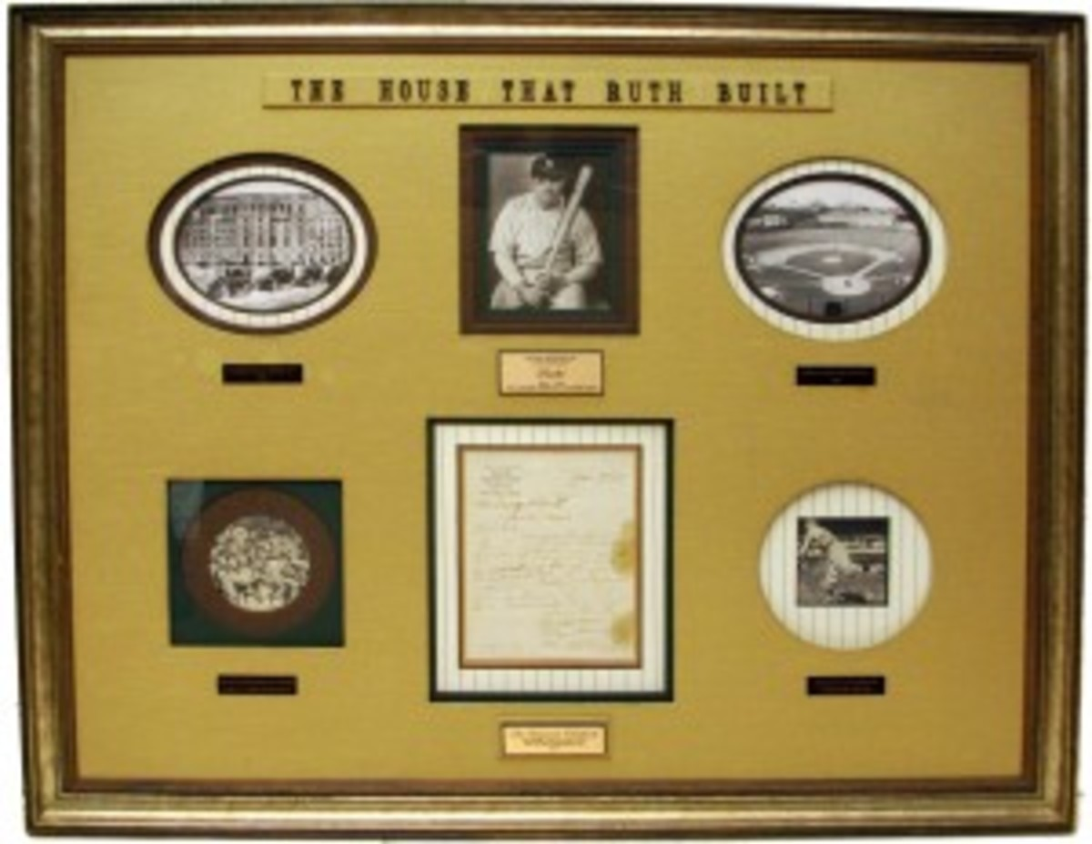 The centerpiece of this 53-by-43-inch display is a signed 1918 document outlining pitching incentives for Babe Ruth.