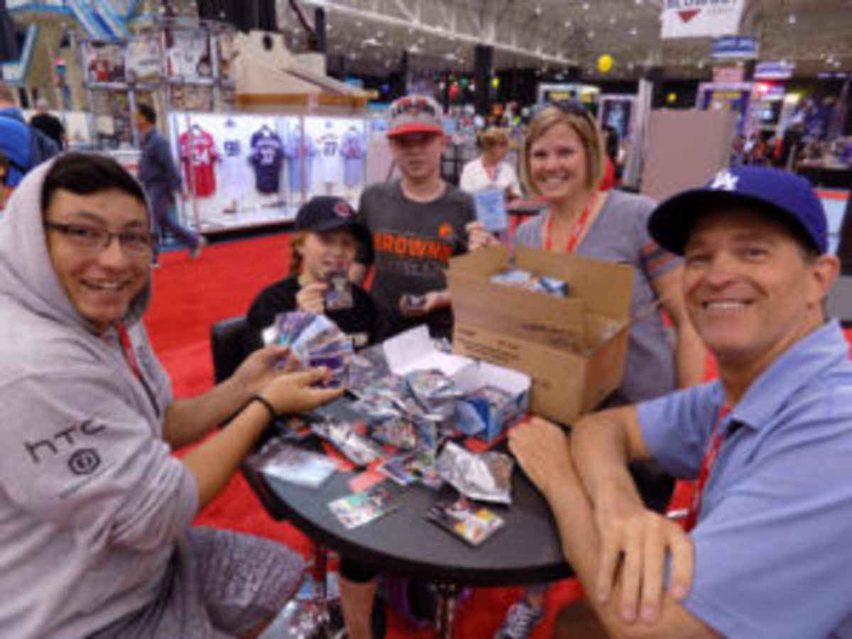 There was plenty of pack busting taking place at this year's National Sports Collectors Convention in Cleveland. (Barry Blair photo)