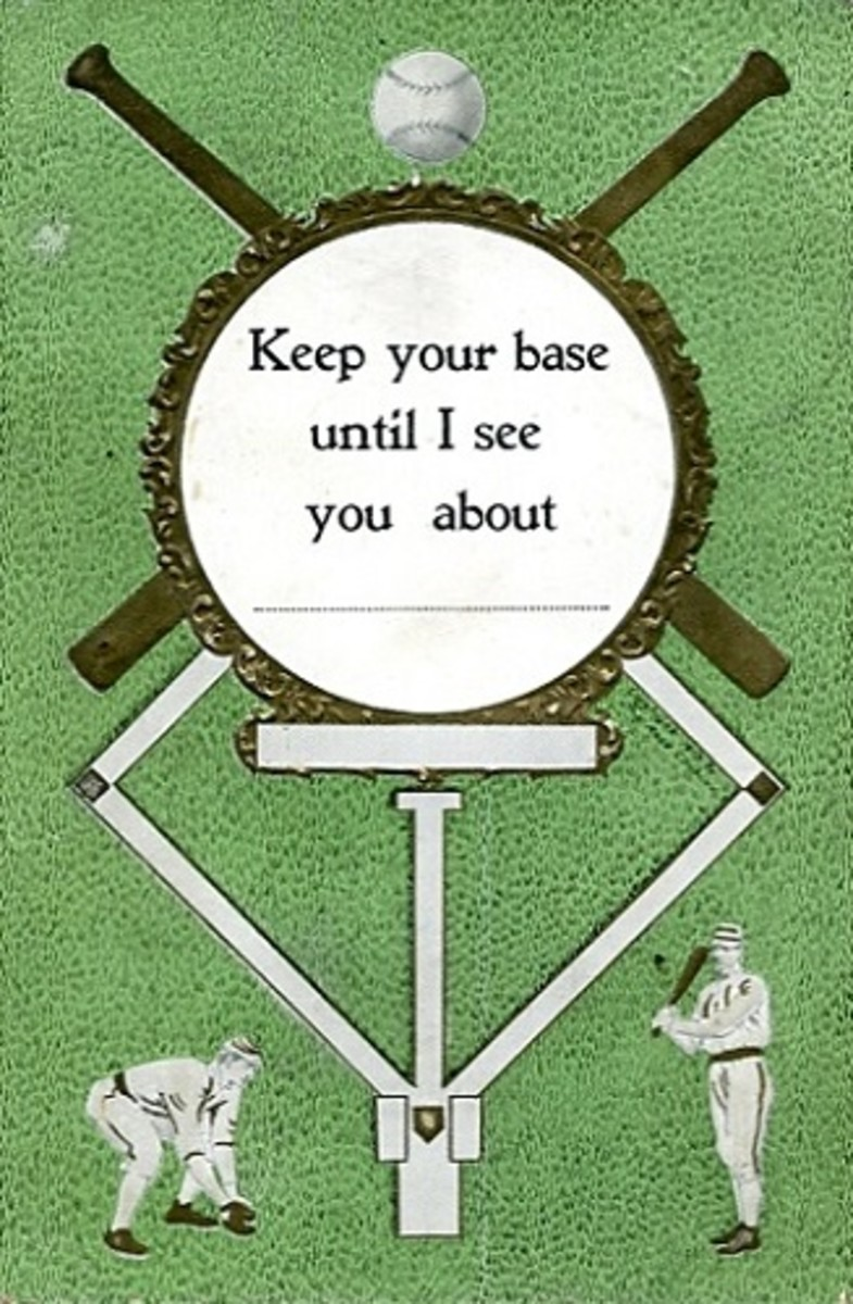 Baseball theme format postcards were transposed into commercial greetings postcards similar to the one shown here.
