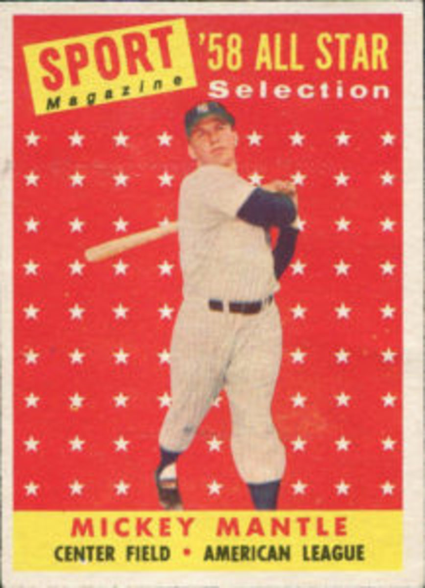 An image of a 1958 Topps Baseball Mickey Mantle card, similar to the one Bob Costas carries with him. The image is not the actual card that Costas has.