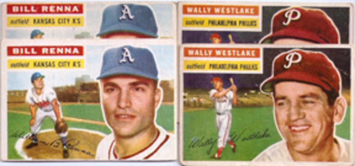 These 1956 Topps cards all have slight differences as to how hats meet the top border of the card.