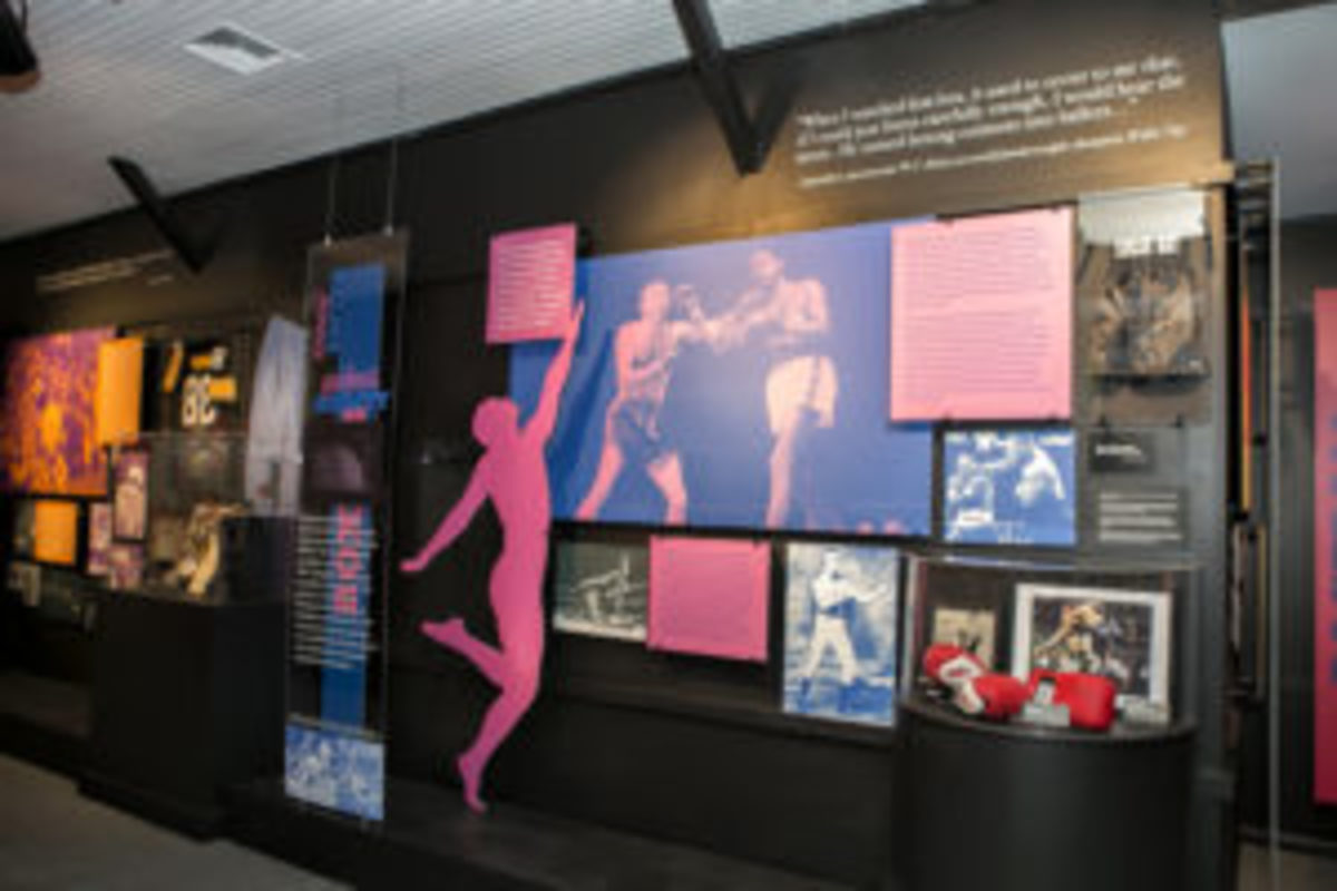 """A sampling of the boxing memorabilia on display in """"The Dancing Athlete"""" exhibit at the National Museum of Dance in Saratoga Springs, New York. (Studio di Luce photo)"""