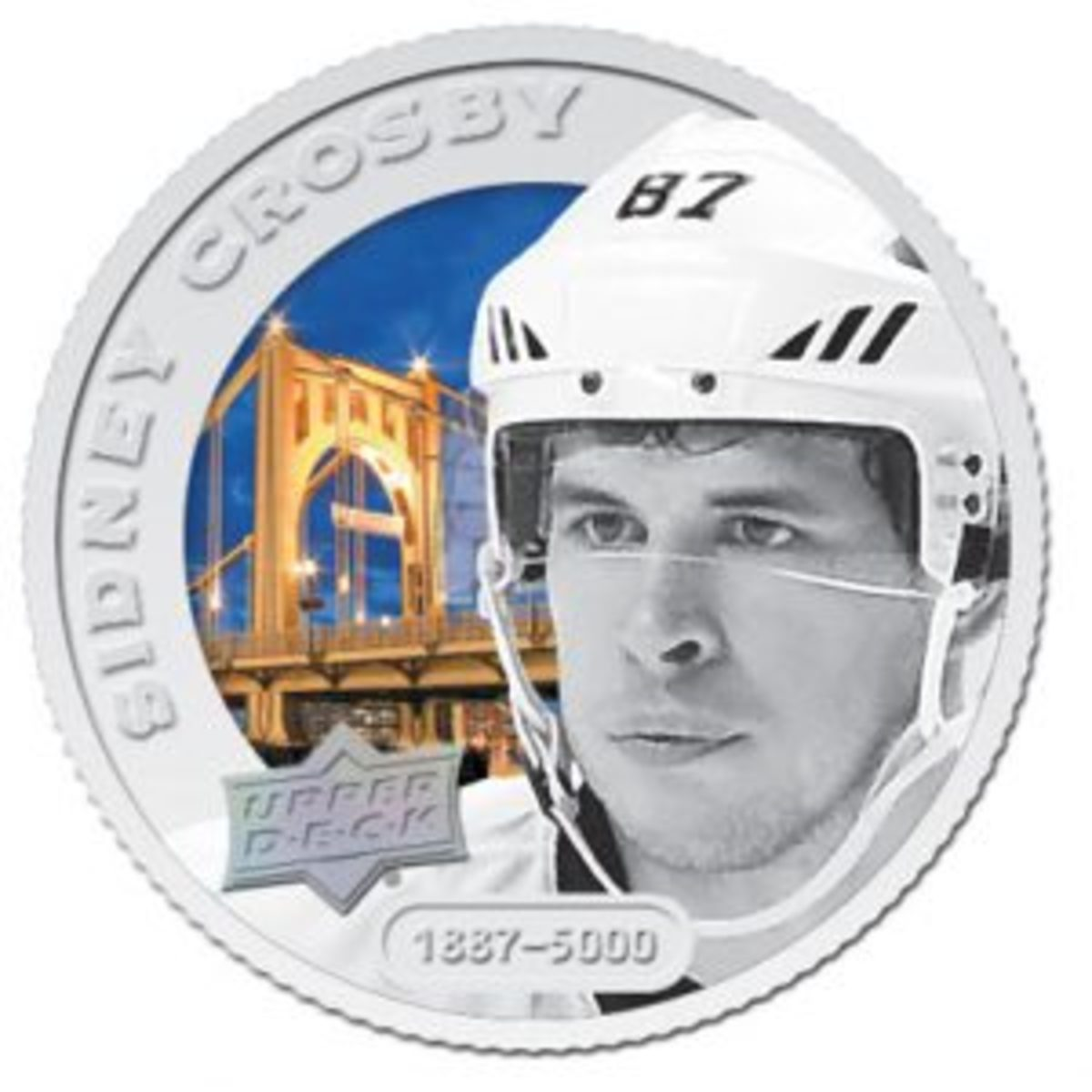 The Grandeur Hockey Coin Collection features silver, colored coins that are numbered to 5,000 for each player. These are the most common coins in the collection.