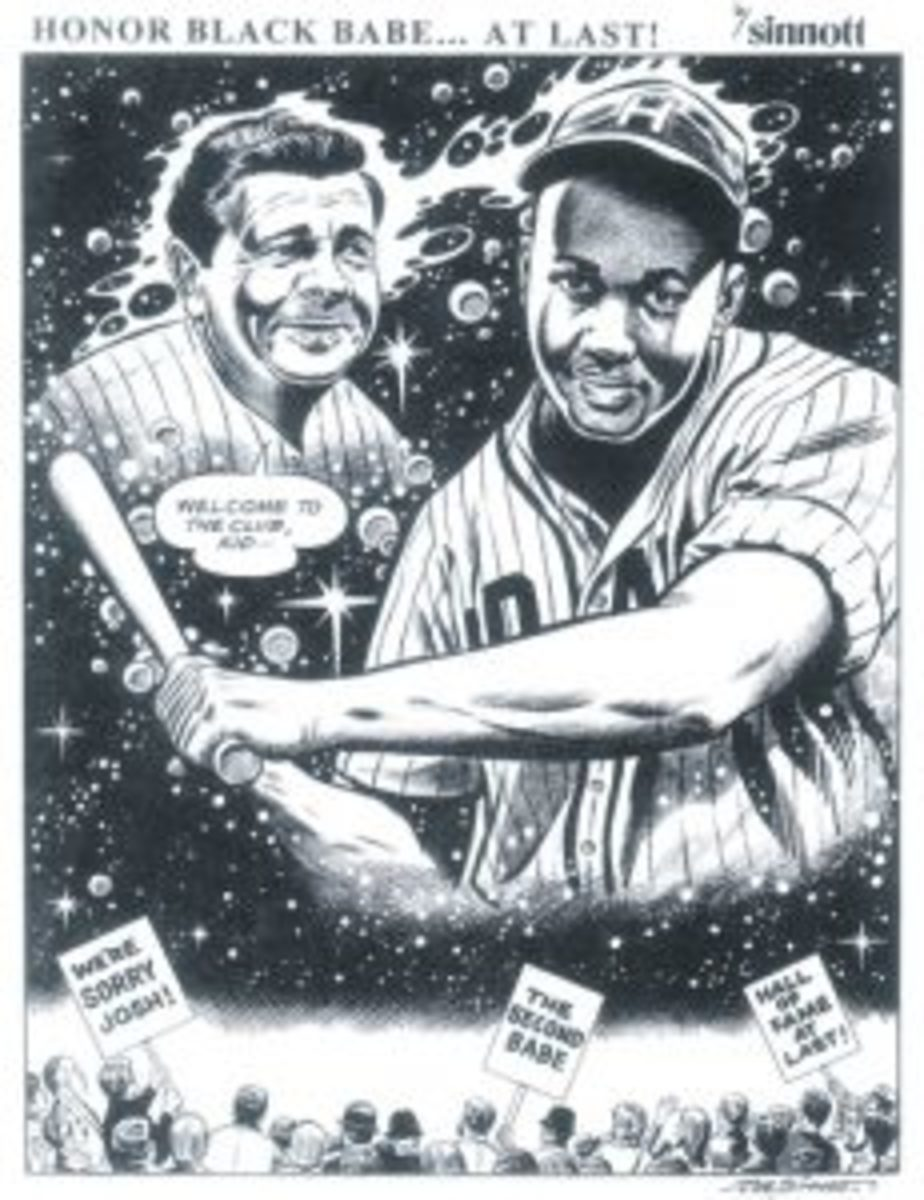 This cartoon drawing by Joe Sinnott, done as a tribute to Negro Leagues star Josh Gibson, when Gibson was inducted into the National Baseball Hall of Fame in 1972 is now part of the Hall of Fame's art collection.