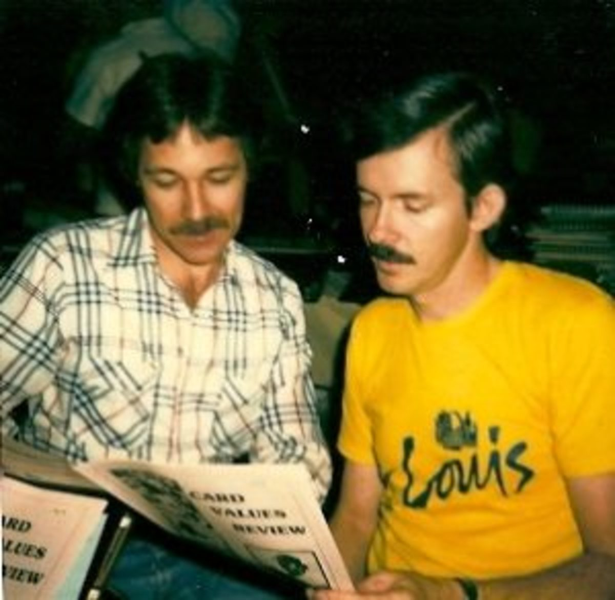 B.A. Murry with co-author Paul Marchant viewing their Card Values Review in 1983. (Photo courtesy B.A. Murry)