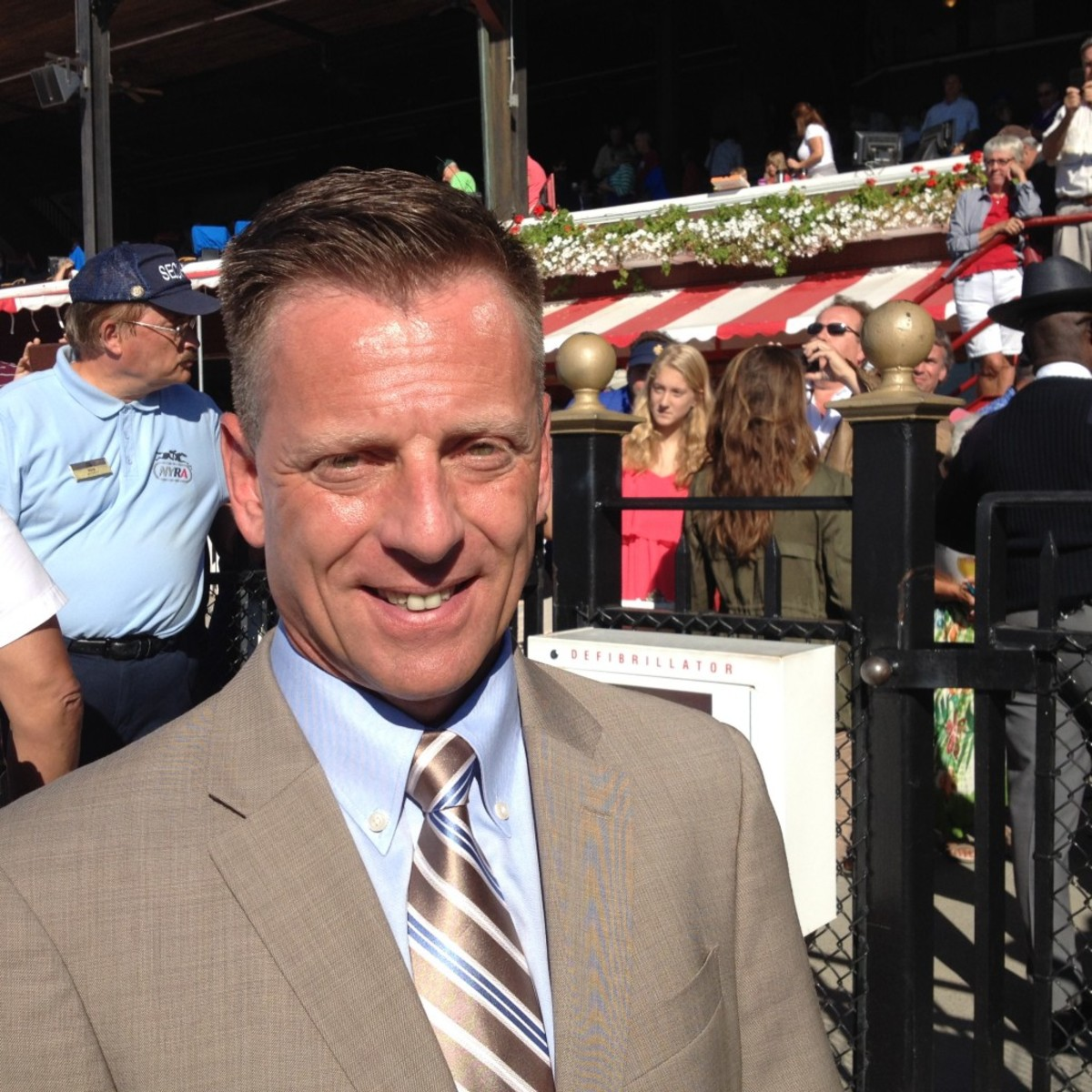 Richard 'the Mig' Migliore, a retired jockey and current Fox sportscaster, was overwhelmed by the response at Saratoga Race Course to American Pharoah.
