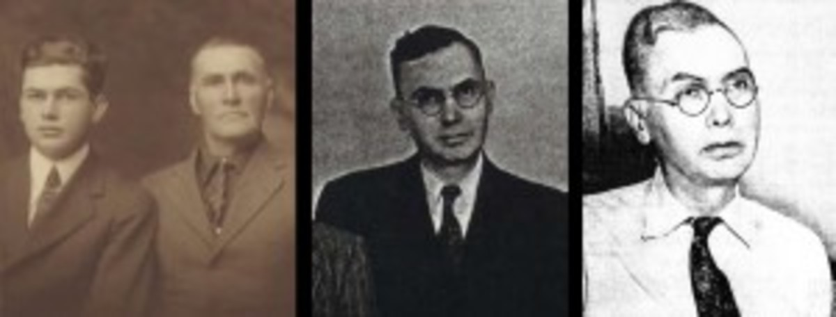 Jefferson Burdick, left, with his father circa 1920. Other photos are Burdick circa 1952 and 1955, left to right.
