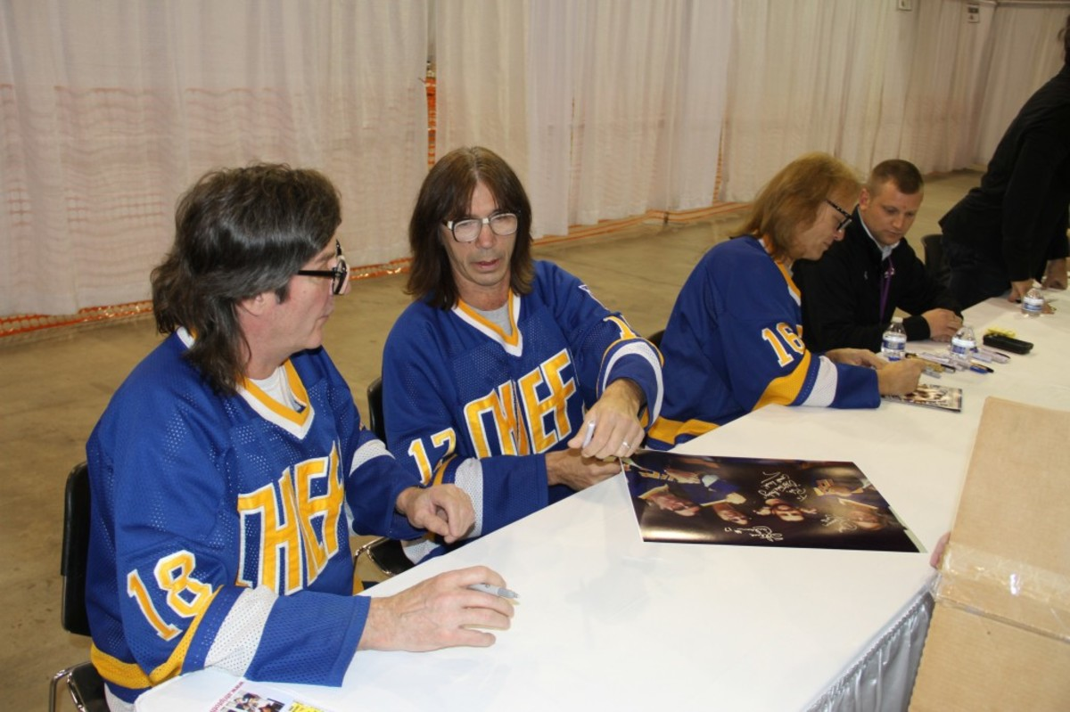 Still drawing crowds 36 years later are the Hanson Brothers from Slap Shot fame. All photos by Ross Forman.