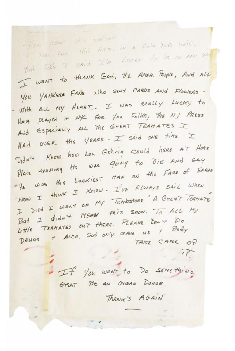 7/12/1995 Mickey Mantle's famous handwritten final farewell speech, minimum bid $10,000. Grey Flannel Auctions image