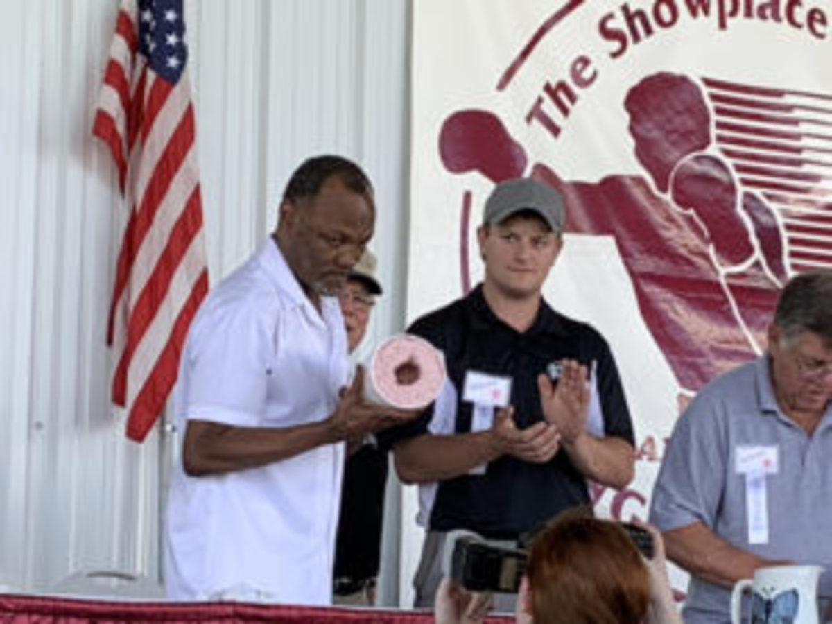 Donald Curry takes part in the fist casting program as part of the Boxing Hall of Fame weekend.