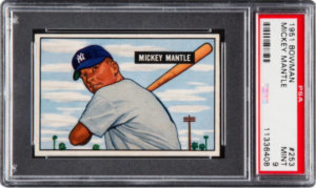 This 1951 Bowman Mickey Mantle #253, graded PSA Mint 9, sold at auction last April for $750,000. (Image courtesy PSA)