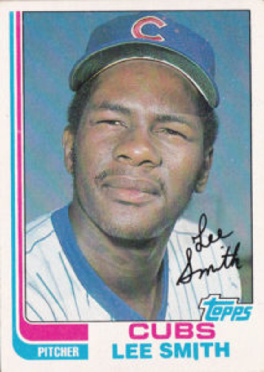 Lee Smith's 1982 Topps baseball card, which is one of his rookie cards.