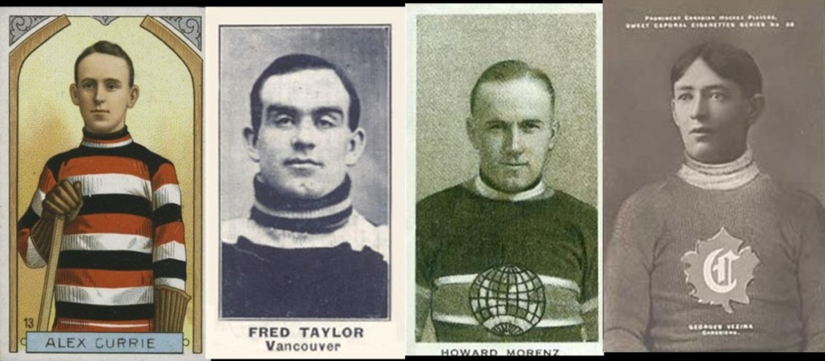Examples of C55, C57, C144 and Sweet Caporal hockey cards.