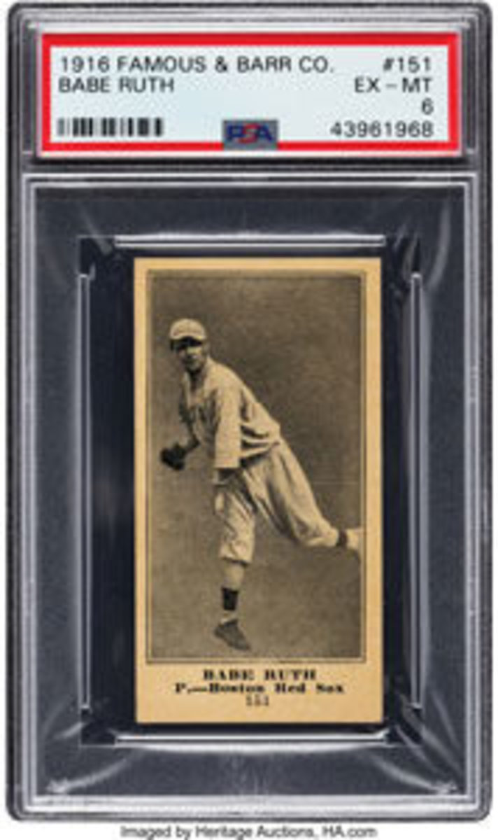 This 1916 Famous & Barr Co. Babe Ruth #151 PSA EX-MT 6 sold for $540,000. All images are courtesy of Heritage Auctions