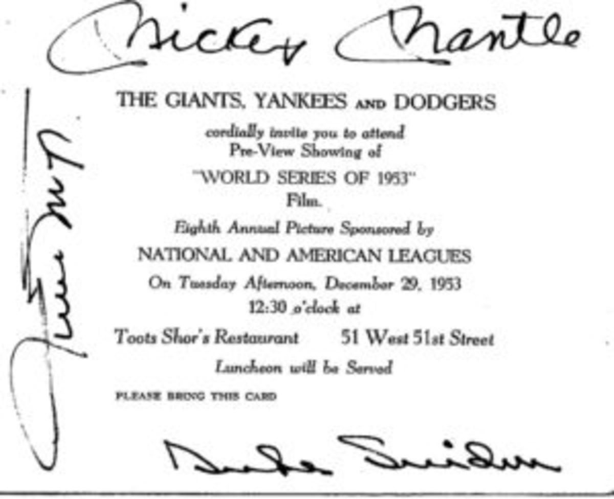 An invitation card for a 1953 luncheon at Toots Shor's Restaurant in Manhattan that is autographed by Mickey Mantle, Willie Mays, and Duke Snider.