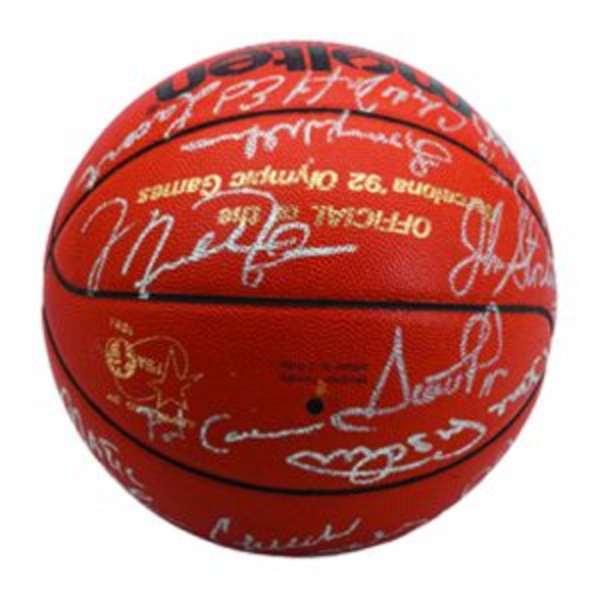 a '92 Dream Team multi-signed Official Molten Barcelona Olympic Basketball sporting 18 signatures including all players and coaches.