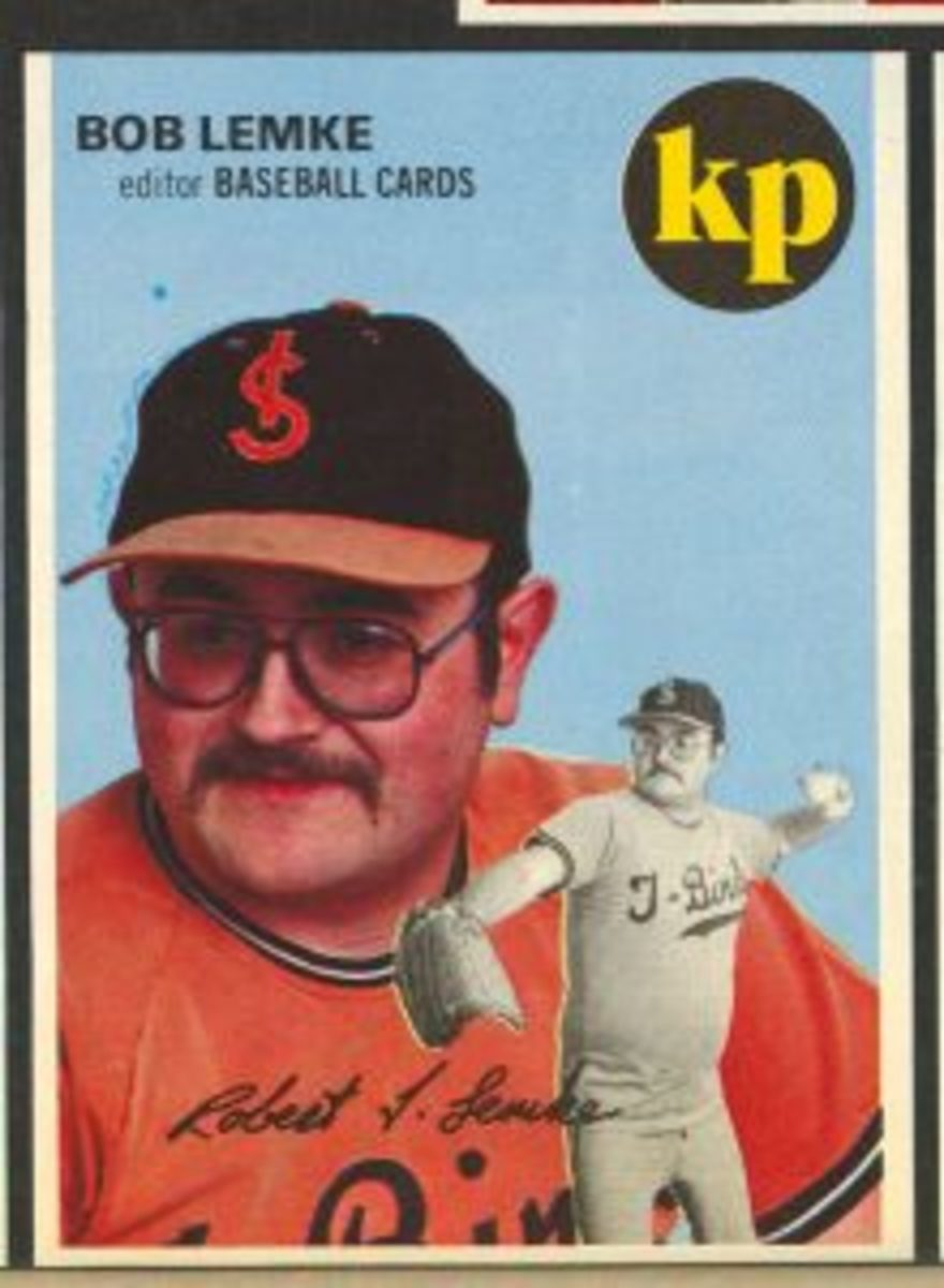 This custom baseball card of Bob Lemke was included in the inaugural issue of Baseball Cards magazine in 1981.