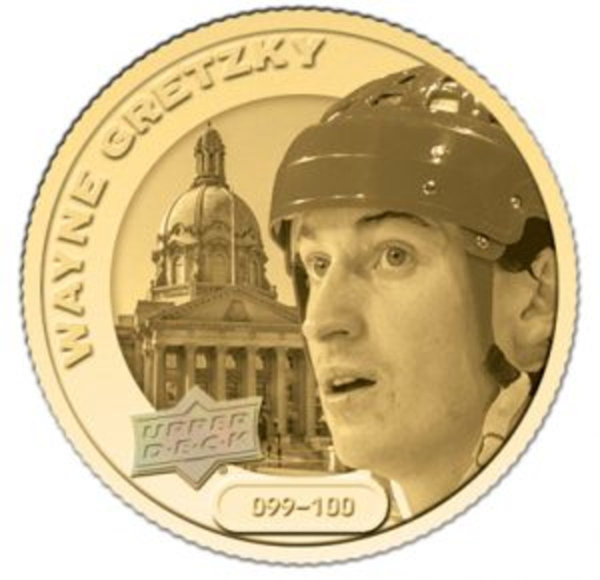 The Grandeur Hockey Coin Collection includes a gold coin variation that is numbered to 100 for each player. These are the rarest coins in the collection.