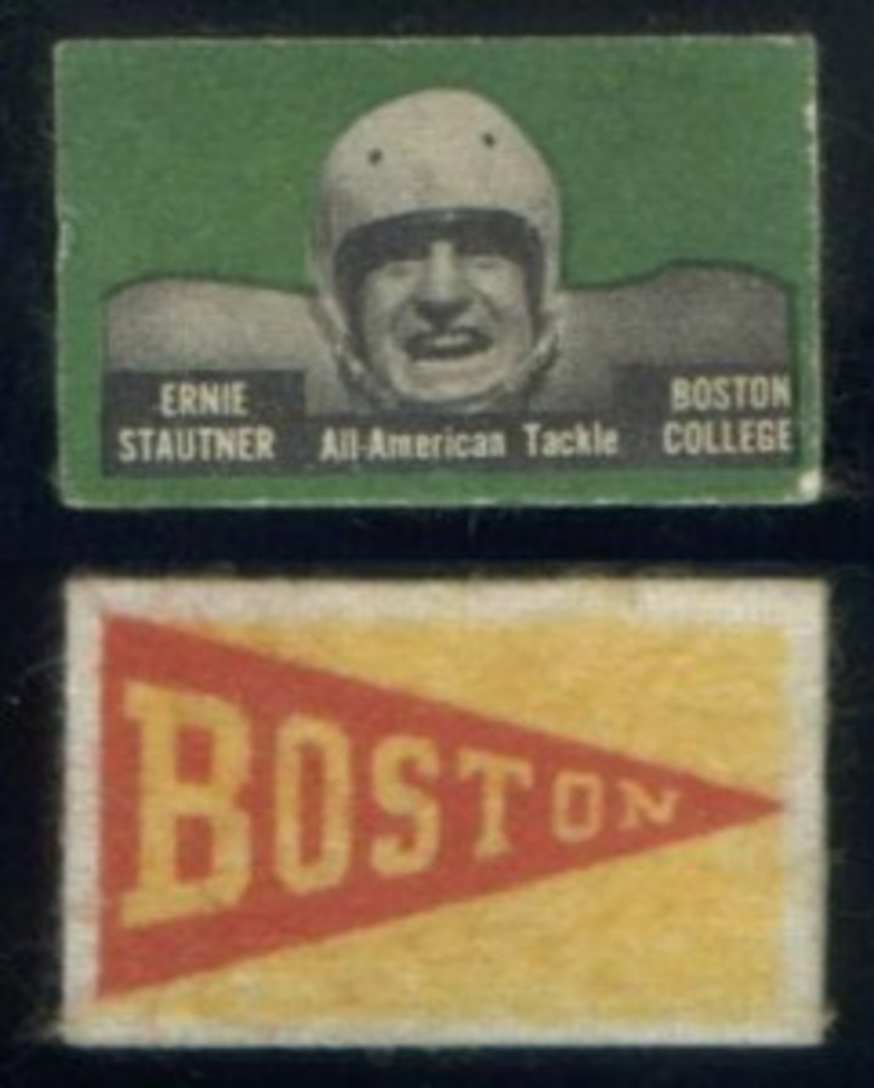 Ernie Stautner is one of the set's seven horizontal cards.