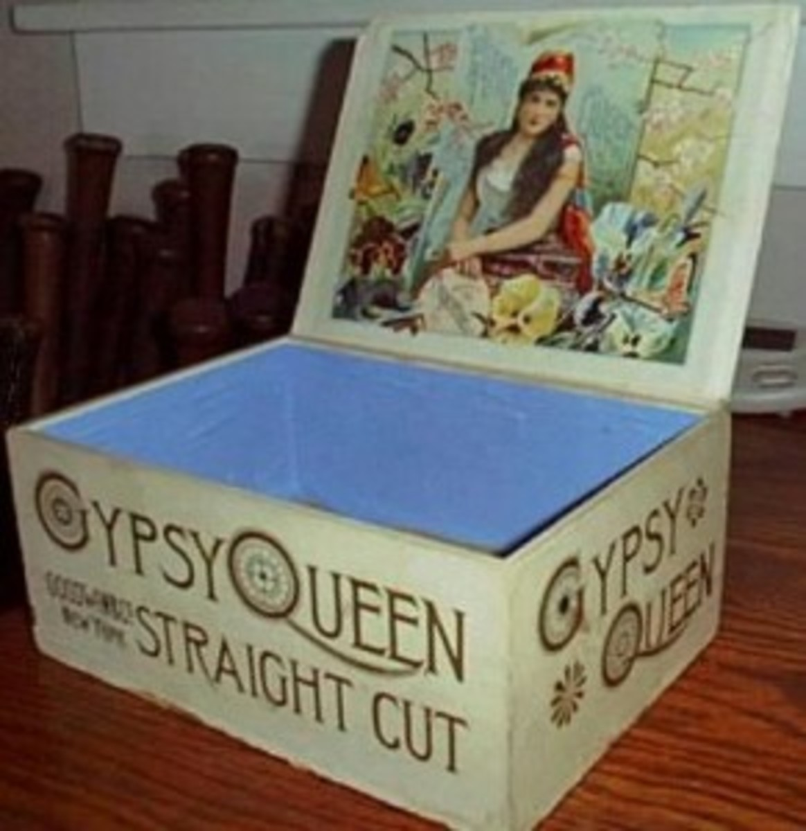 Pictured is a Gypsy Queen counter top display box produced by Goodwin and Company, with an example of an N175 advertising card below.